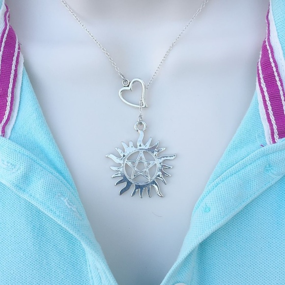 Supernatural Tattoo Silver Lariat Y Necklace